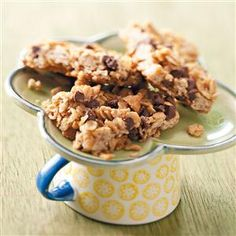 Peanut Butter Granola Mini Bars Recipe -Kids will flip over this deliciously oaty sweet snack! With honey, peanut butter, brown sugar and two types of chips, what's not to love about these granola bars? And at less than 100 calories, you can afford to have seconds. —Vivian Levine, Summerfield, Florida