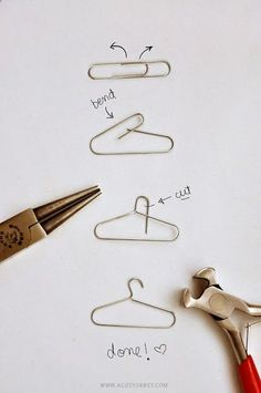 DIY: From Paper Clips to Mini Hangers---great idea for Barbie clothes!!! Then…