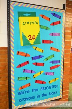Back-to-School Bulletin Board Idea! This link includes a free printable for the crayon! Use a cereal box wrapped in yellow for the crayon box. Crayon Bulletin Boards, Creative Bulletin Boards, Birthday Bulletin Boards, Back To School Bulletin Boards, Preschool Bulletin Boards, Bullentin Boards, September Bulletin Boards, Classroom Birthday, Birthday Wall