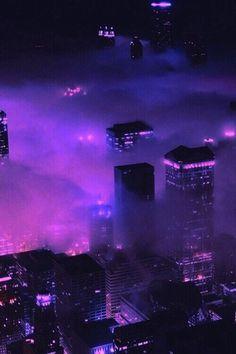 Purple Skyscrapers Beautiful foggy view