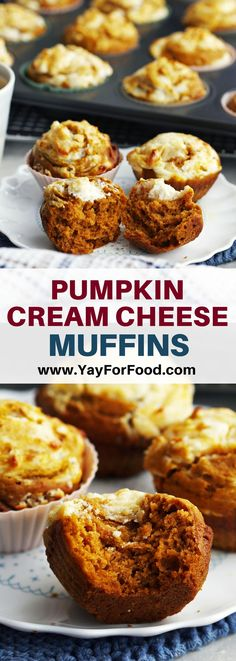Pumpkin Cream Cheese Muffins A quick and easy pumpkin muffin recipe that's soft and fluffy on the inside with a delicious cream cheese topping. Perfect to eat for breakfast or as a snack. Pumpkin Cream Cheese Muffins, Pumpkin Muffin Recipes, Pumpkin Cream Cheeses, Fall Dessert Recipes, Easy Desserts, Delicious Desserts, Fall Recipes, Brunch Recipes, Breakfast Recipes