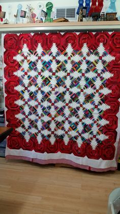 This quilt was paper pieced, and we think the texture and bright red really make it pop! Don't you just love the border?
