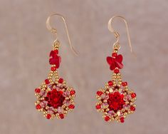Red Crystal Flower Earrings Sparkly Evening by Turquoisebee