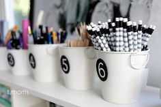Great Little Buckets make perfect storage containers for a scrapbook or craft studio! #scrapbooking #craftstudios #organization #storage
