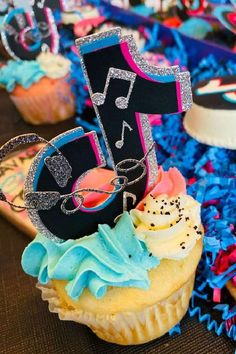 Check out this fab Tik Tok birthday party! The cupcakes are so cool! See more party ideas and share yours at CatchMyParty.com #catchmyparty #partyideas #tiktok #tiktokparty #girlbirthdayparty #cupcakes