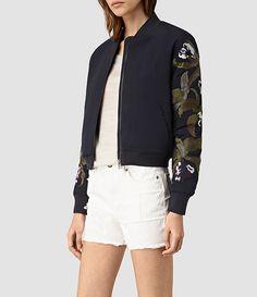 Womens Anya Bomber Jacket (Ink Blue) - product_image_alt_text_2