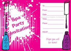Spa party invitations free printable kids birthday invites from free printable spa birthday party invitation stopboris Gallery