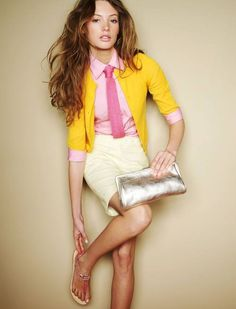 Color blocking is in and we love this pairing of yellow with pink in the JCrew Ad Campaign. Photo by Joshua Jordan