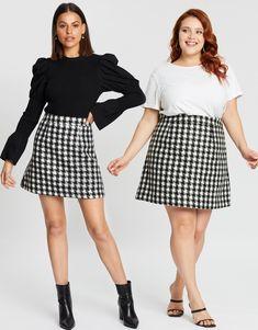 Catalina Wool Blend Mini Skirt Plaid Skirts, Mini Skirts, Iconic Australia, Forever New, Tartan Plaid, Houndstooth, Reign, Wool Blend, Black And White