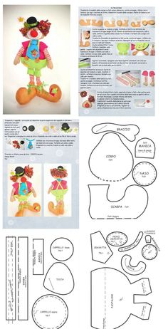 Palhaço Clown Crafts, Doll Crafts, Sewing Crafts, Sewing Projects, Doll Clothes Patterns, Doll Patterns, Clown Party, Sewing Dolls, Felt Toys
