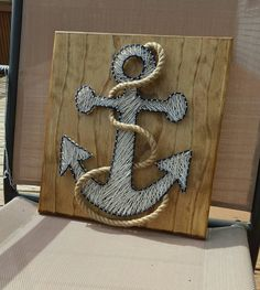 Nautical anchor string art with rope, FAST shipping , ~ Handmade String Art ~ A beautiful golden oak stained and sealed ~ 12 x 12 ~ Beautiful routed edges on high quality pine ~ Hang built wall ~ Fast del. Anchor String Art, String Art Diy, Anchor Art, String Art Templates, String Art Patterns, Doily Patterns, Dress Patterns, Support Mural, Creation Deco