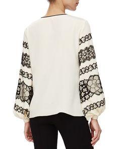 W05N2 Andrew Gn Floral Lace-Detailed Blouson-Sleeve Top