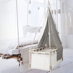 The price includes the spring and a comfortable mattress made of coconut-fibres with recycled-wool tufting and a removable cover of soft organic cotton. Hanging Cradle, Hanging Chair, Baby Hammock, Travel Cot, Comfort Mattress, Coton Biologique, Fibres, Baby Cribs, Bassinet