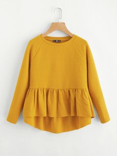 Discount This Month Dotfashion Raglan Sleeve Textured High Low Smock Sweatshirt Long Sleeve Round Neck Pullovers 2017 Autumn Women Yellow Sweatshirt Blouse Styles, Blouse Designs, Trendy Outfits, Cute Outfits, Stylish Dresses, Hijab Fashion, Fashion Outfits, Fashion Fashion, Fashion Ideas