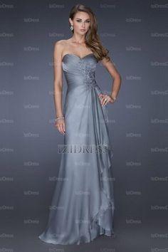 A-Line/Princess Sweetheart Strapless Floor-length Chiffon Evening Dresses - IZIDRESSES.com at IZIDRESSES.com