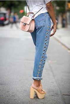 Hip Unique High Waist Eyelet Jeans, Boyfriend Denim Jeans, Please Read Size Chart dsign tribe™ Denim Jeans, Moda Jeans, Loose Jeans, Denim Shirts, Raw Denim, Denim Bag, Blue Jeans, Denim Outfits, Outfit Jeans