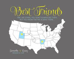 Best Friends are like Stars  8x10 Custom Map by WanderingFables, $26.99