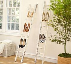 Shoe Display Ladder is a great idea for: #1 - consignment shop - display by size or color  #2 - display single pair on each ladder for a high-end window display.