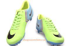 Nike Mercurial Vapor X FG Soccer Cleats Cheap Neon Green Sky Blue Black. Soccer Gear, Play Soccer, Soccer Cleats, Soccer Girls, Soccer Stuff, Nike Soccer, Cheap Soccer Shoes, Soccer Boots, Football Boots