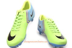 Nike Mercurial Vapor X FG Soccer Cleats Cheap Neon Green Sky Blue Black