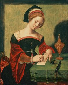 Artist	  Master of the Female Half-Lengths (fl. circa 1500–1530)   Description	  Portrait of a Lady as the Magdalen  Date	16th century  Medium	tempera on panel  Current location	Private collection, London  Notes	Flemish