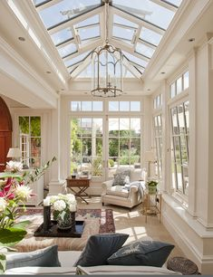 A case study of an orangery extension created as two rooms. Internally, the structure opens directly into adjoining rooms in the house, creating an open and spacious area. Orangerie Extension, Orangery Extension Kitchen, Kitchen Orangery, Conservatory Extension, Dream Home Design, My Dream Home, Home Interior Design, House Design, Dream House Interior