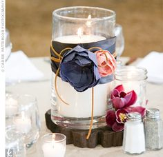 Project: Decorate simple jars with fabric, ribbon, twine.