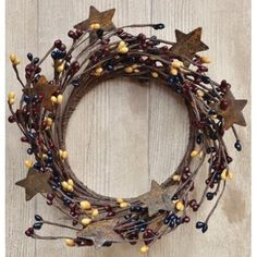 Colonial Mix Pip Ring Wreath W/ Rusty Stars Navy Burgundy Mustard Berries Country Primitive Floral Décor #countryprimitive