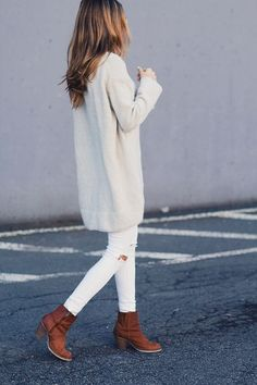 All white with brown leather boots fall street fashion outfit