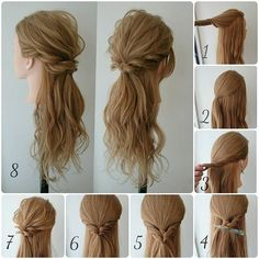 Translation: Half-up arrangement  1. take the top so much.  2. This tie much of it at.  3. side hair weave rope.  4. so at the back should be kept.  5. Similarly to the opposite side and tie at the back.  6. position top of rubber and damp.  7. loosen the top and weave.  8. completed after slipping below the hair.