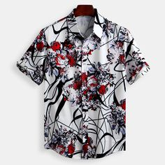 Mens Floral Printed Short Sleeve Loose Summer Shirts - Men's style, accessories, mens fashion trends 2020 Mens Printed Shirts, Loose Shirts, Casual Shirts, Casual Outfits, Streetwear, Summer Shirts, Men's Fashion, Fashion Shirts, Shirt Style