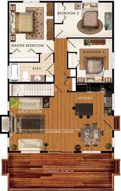 Baywood II Floor Plan. No basement stairs means space for a laundry room. Br 2 will instead be my master sunroom