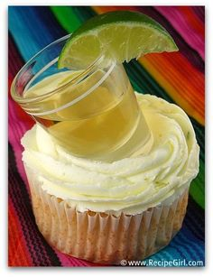 Margarita cupcakes with a shot of tequila. (Lime buttercream!) Happy Cinco De Mayo!