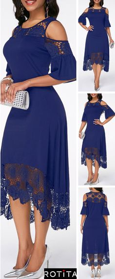 Cold Shoulder Flare Cuff Lace Panel Navy Dress This stunning dress is a must have staple for whatever time of year. Stunning Dresses, Sexy Dresses, Cute Dresses, Evening Dresses, Casual Dresses, Beautiful Outfits, Party Dresses, Mode Outfits, Dress Outfits