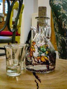Hand Painted Wine Jug with Birds by Anumvella on Etsy