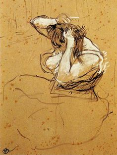 """Henri de Toulouse-Lautrec """"Woman brushing her hair"""" Sketch and study"""