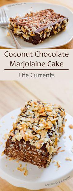 layer cake, soft coconut meringue alternates with dark chocolate-rum ...