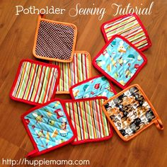 DIY Potholder Sewing Tutorial.These are super cute and easy to make. I think they would be great gifts and would make a nice bridal shower favor or prizes for guests.