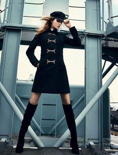 Josephine Skriver models nautical inspired fashions for Elle Denmark. Photographed by Henrik Bulow.