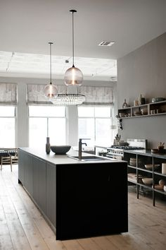 dark kitchen island + open shelving