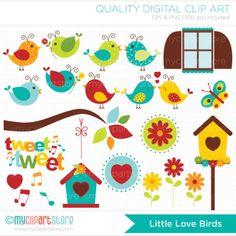 Little Love Birds Clip Art / Digital Clipart cakepins.com