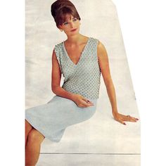Evening Dress Knitting Pattern, Sleeveless Beaded.   This pattern has two verions of a classic look; the plunge V or boat neck shell, studded with beabs and a short or long skirt.