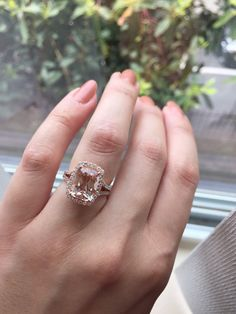 14K White Gold Rose Gold Morganite and Diamond by LusterLaValliere