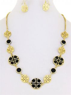 Dr - Designer Inspired Solid Goldtone Charms and Cut Out Charms with Black Patterned Cross Long Necklace. 20 Inch Total Length. With Matching Earrings. Hail Mary Gifts,http://www.amazon.com/dp/B00C1J09BS/ref=cm_sw_r_pi_dp_nYPHrb5E7116498C