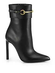 Gucci - Ursula Leather Horsebit Ankle Boots