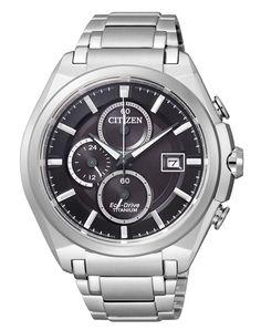 citizen   €299   heren horloge CA0350-51E super titanium chrono saffierglas 210 dagen gangreserve datumaanduiding 10 bar waterdicht lichtgeven wijzers stopwatch 24-Uur aanduiding #citizen #eco-drive #watch #horloge
