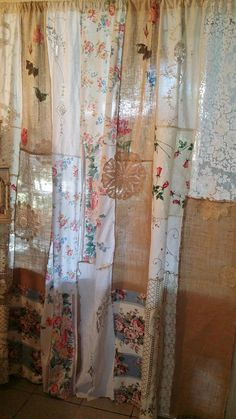 Fabric for homemade curtains and farmhouse style cheap curtains! diy no sew curtains. Patchwork Curtains, No Sew Curtains, Pink Curtains, Drop Cloth Curtains, Burlap Curtains, How To Make Curtains, Hanging Curtains, Ikea Curtains, Bedroom Curtains