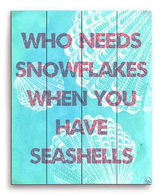 Look at this #zulilyfind! Aqua Seashells Over Snowflakes Wall Art #zulilyfinds
