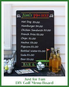 Create a Fun Golf Inspired Menu Board for the Golf Lover's Man Cage. #golf #craftingwithvinyl Pool Snacks, Golf Party, Creative Workshop, Snack Bar, Used Vinyl, Vinyl Crafts, Black Decor, Just For Fun, Tool Kit