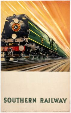 'Bulleid Pacific Locomotive', SR poster, Stock poster produced for the… Posters Uk, Train Posters, Railway Posters, Vintage Advertisements, Vintage Ads, Old Steam Train, Southern Railways, Bullen, Train Art